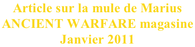 Article sur la mule de Marius  ANCIENT WARFARE magasine  Janvier 2011